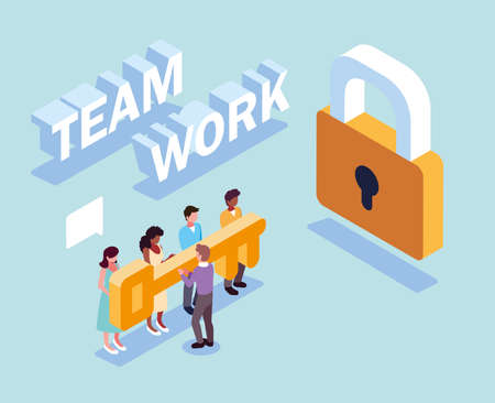 group of people with security padlock and key , teamwork vector illustration design Ilustração