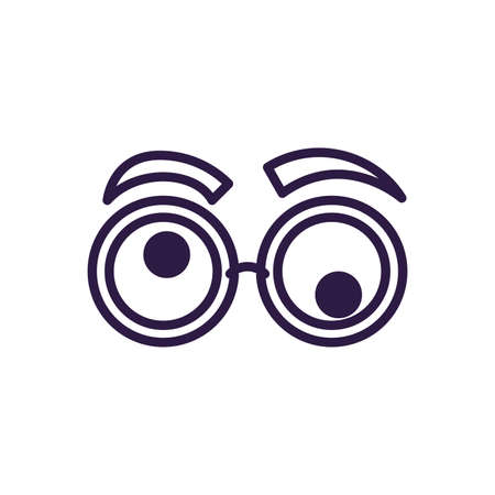 crazy glasses with eyebrows over white background, line style icon, vector illustration