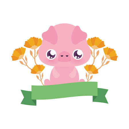 Cute pig cartoon with flowers design, Animal zoo life nature character childhood and adorable theme Vector illustration