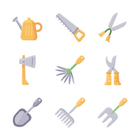gardening tools icon set over white background, flat detail style icon, vector illustration