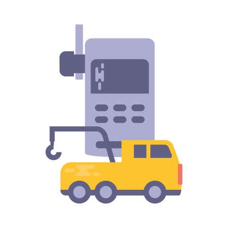 fire truck with walkie talkie on white background vector illustration design Stock Illustratie
