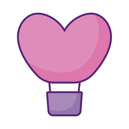 hearts air balloon icon over white background, flat style, vector illustration  イラスト・ベクター素材