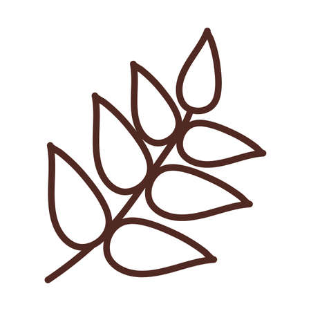 wheat leaves, line style icon vector illustration design