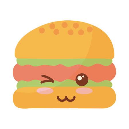 delicious burger on white background vector illustration design Vektorové ilustrace