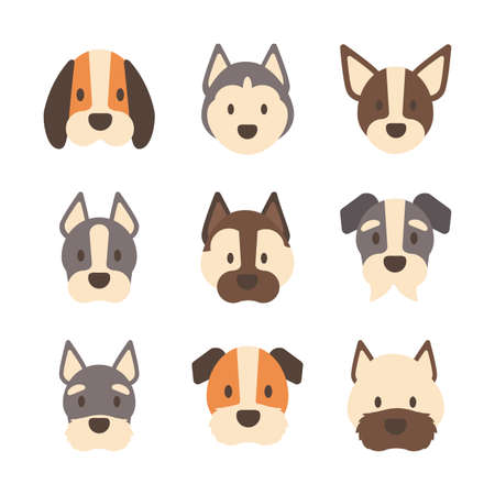 set of icons of faces different breeds of dogs vector illustration design Vektoros illusztráció