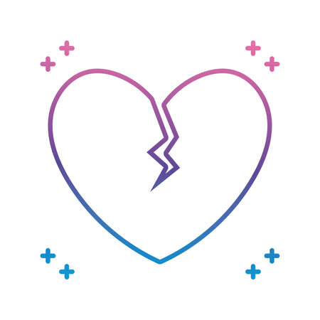 heart broken icon over white background, gradient line style, vector illustration
