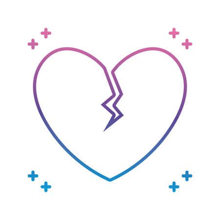 heart broken icon over white background, gradient line style, vector illustration Vector Illustration
