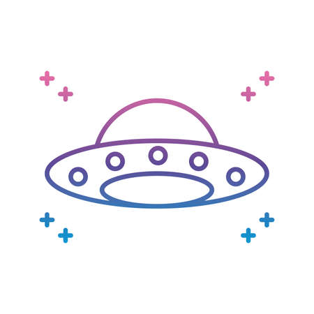 flying saucer icon over white background, gradient line style, vector illustration