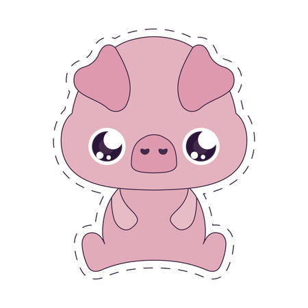 pig cartoon design, Kawaii expression cute character funny and emoticon theme Vector illustration