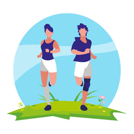 athletic women running in the camp vector illustration design