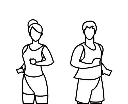 athletics couple running characters vector illustration design