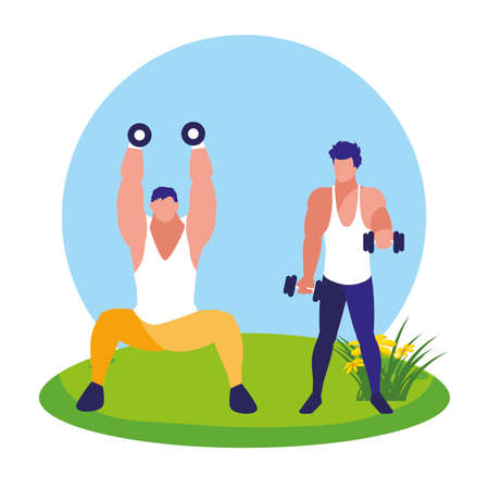 athletic men weight lifting in the camp vector illustration design