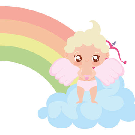 Baby cupid cartoon and rainbow design of love passion romantic valentines day wedding decoration and marriage theme Vector illustration