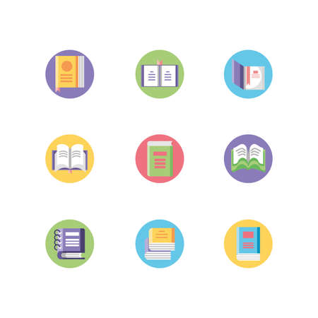 academic books icons set over white background, block style, vector illustration