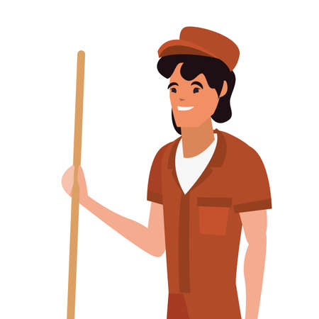 street sweeper profession labour day vector illustration design