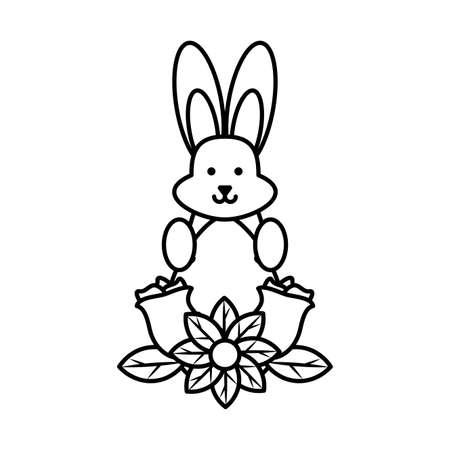 cute bunny in a christmas gift box on white background vector illustration design