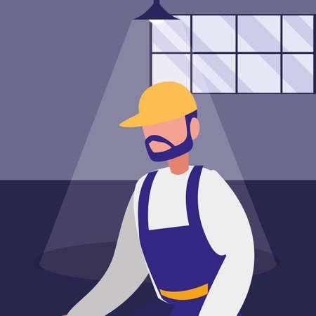 mechanic worker in the workshop place vector illustration design