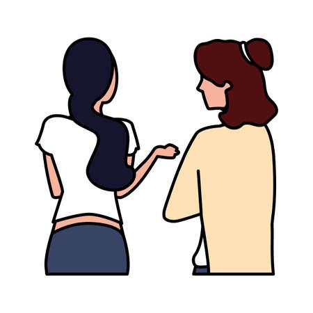 women of back position on white background vector illustration design Foto de archivo - 141729350
