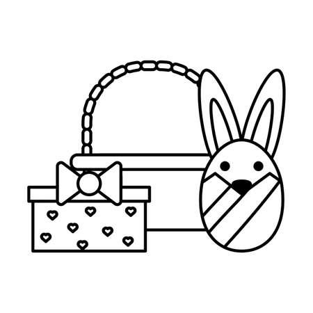 cute rabbit in basket on white background vector illustration design