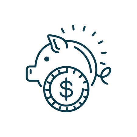 piggy bank icon over white background, line style, vector illustration