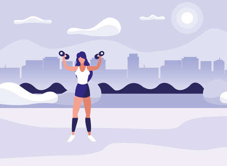 athletic woman weight lifting in the park vector illustration design
