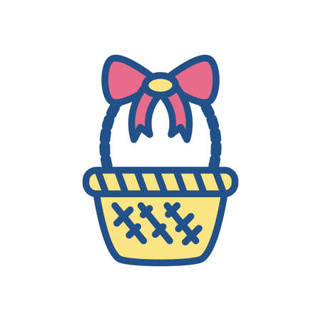 basket with decorative bow over white background, line style icon, vector illustration  イラスト・ベクター素材