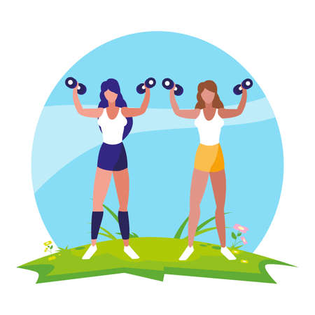 athletic women weight lifting in the camp vector illustration design Ilustracja