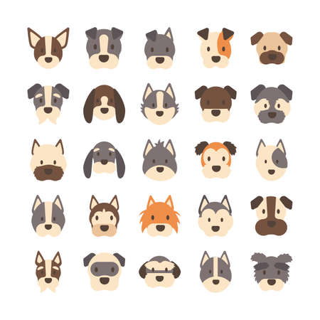 set of icons of faces different breeds of dogs vector illustration design 向量圖像