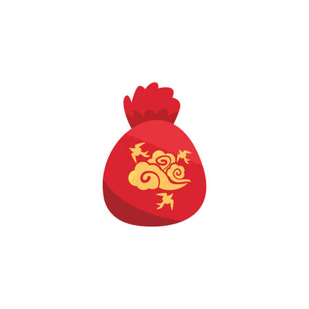 Chinese red bag design, China culture asia travel famous asian and oriental theme Vector illustration Иллюстрация