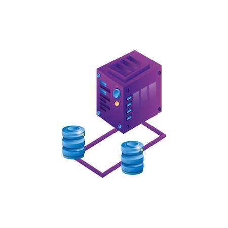 server data center with disks servers vector illustration design