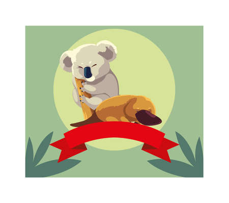 card with koala and platypus vector illustration design