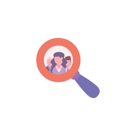 Woman inside lupe design, Tool search magnifying glass zoom lens and exploration theme Vector illustration