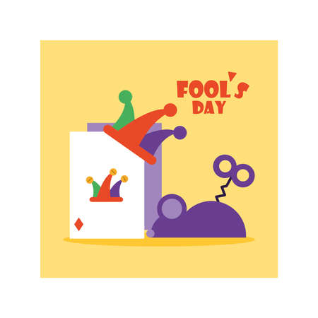 card with label april fools day, humorous party vector illustration design Illustration