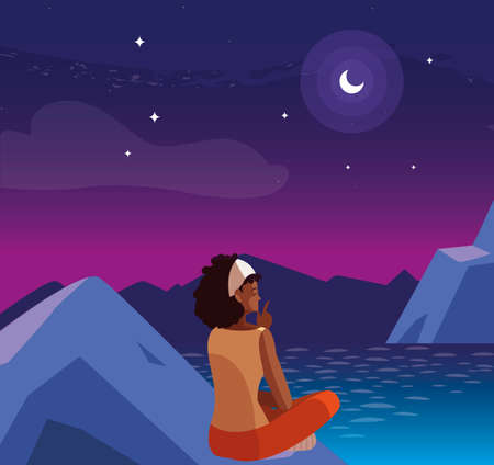 afro woman contemplating horizon in mountains at night scene vector illustration