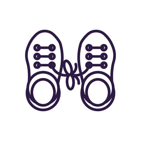 clown shoes with fools joke over white background, line style icon, vector illustration