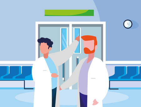 male medicine workers in the operating room entrance vector illustration design