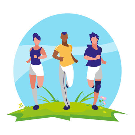 athletics group people running in the camp vector illustration design