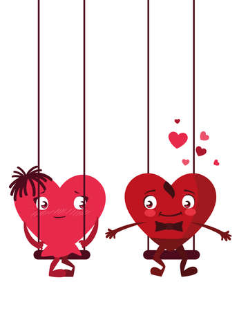 couple hearts in swing characters vector illustration design