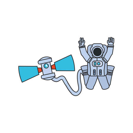 astronaut suit with hose and satellite isolated icon vector illustration design