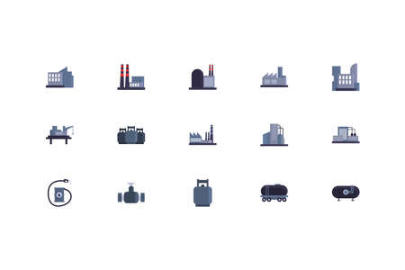Oil industry icon set design, Gas energy fuel technology power industrial production and petroleum theme Vector illustration