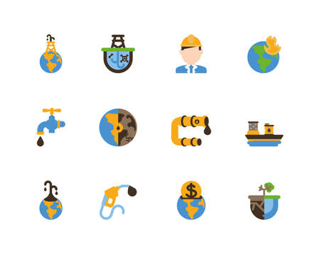 Fracking icon set design, Oil industry fuel technology power industrial production and petroleum theme Vector illustration  イラスト・ベクター素材