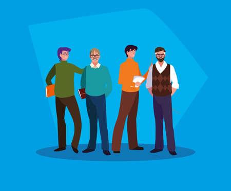 group of teachers men avatar character vector illustration design Çizim