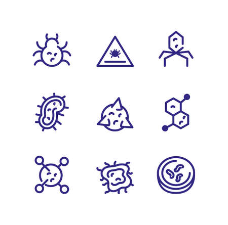 bacterias and sickness concept of icons set over white background, thick line style, vector illustration Stock Illustratie