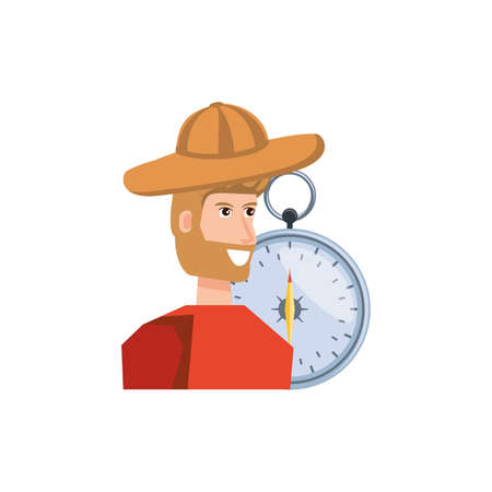 man with compass guide isolated icon vector illustration design Çizim