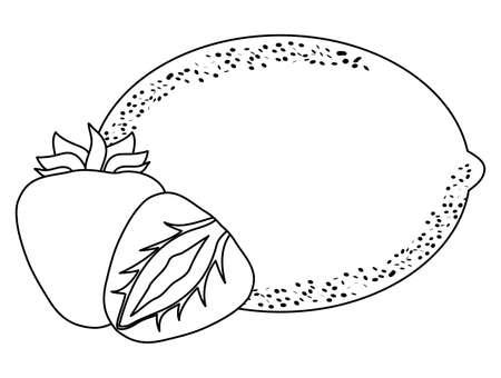 fresh lemon with strawberries fruits vector illustration design