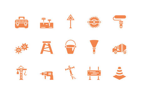 Tools icon set design, Under construction architecture work repair progress warning industry and build theme Vector illustration Vettoriali