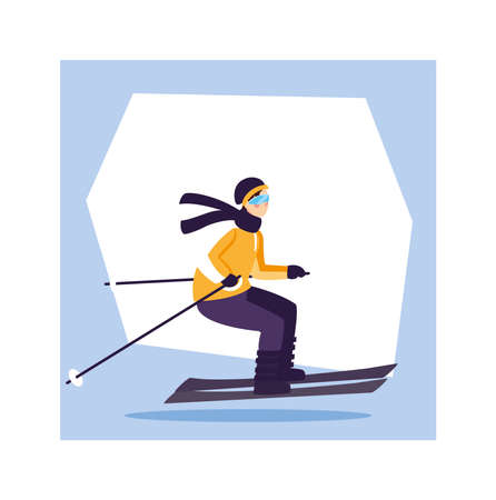 man with mountain ski, extreme winter sport vector illustration design