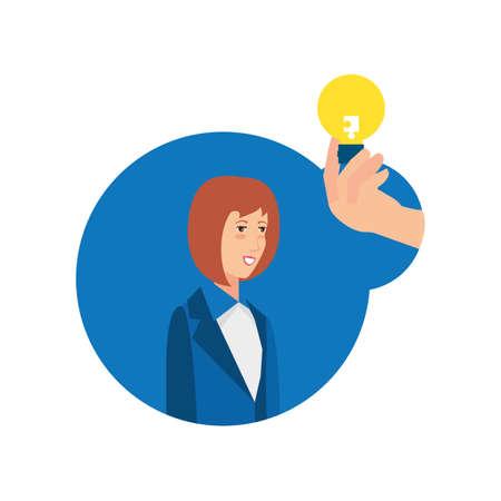 businesswoman with puzzle piece in shape light bulb vector illustration design Zdjęcie Seryjne - 142120120