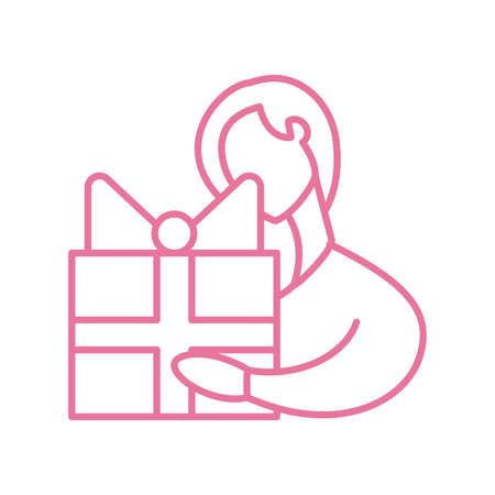 woman holding a gift box, line style icon vector illustration design