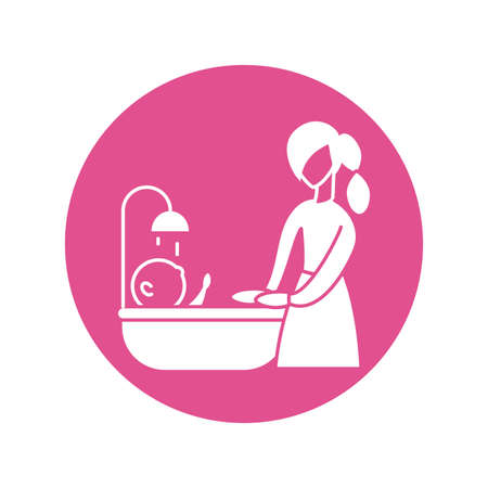 woman with baby taking the bath, silhouette style icon vector illustration design